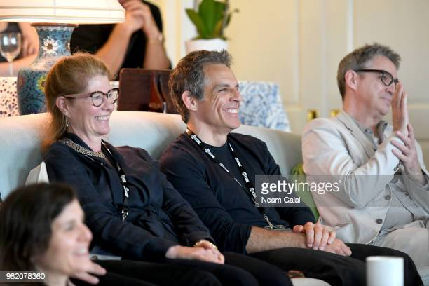 Tatiana Siegel Andrew Heckler and Garrett Hedlund speak onstage during the 'Burden' QA at the 2018 Nantucket Film Festival Day 4 on June 23 2018 in...