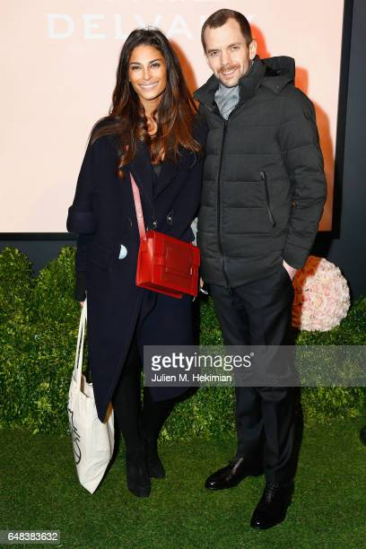 Tatiana Silva and a guest attend the Delvaux cocktail party during Paris Fashion Week Womenswear Fall/Winter 2017/2018 at Jardin du Palais Royal on...
