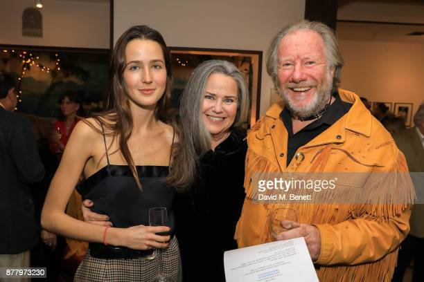 Tatiana Stark Koo Stark and Guest attend a private view of Koo Stark's exhibition 'Kintsugi Portraits' at Galleria San Lorenzo on November 23 2017 in...