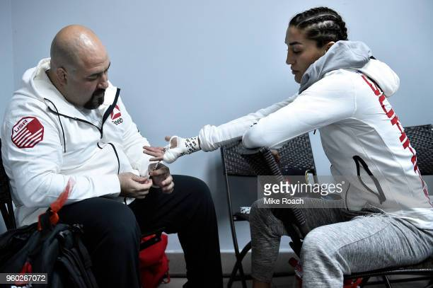 Tatiana Suarez has her hands wrapped prior to her bout against Alexa Grasso during the UFC Fight Night event at Movistar Arena on May 19 2018 in...