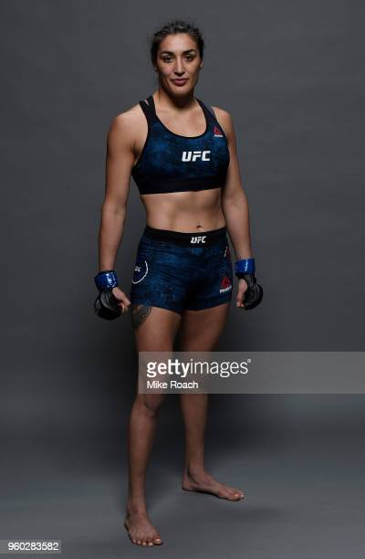 Tatiana Suarez poses for a portrait backstage after her victory over Alexa Grasso during the UFC Fight Night event at Movistar Arena on May 19 2018...