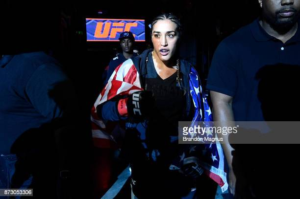 Tatiana Suarez prepares to enter the Octagon prior to facing Viviane Pereira of Brazil in their women's strawweight bout during the UFC Fight Night...