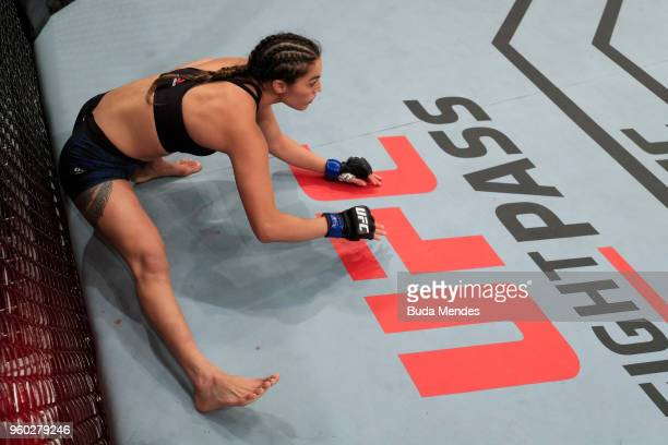 Tatiana Suarez prepares to fight Alexa Grasso of Mexico in their women's strawweight bout during the UFC Fight Night event at Movistar Arena on May...