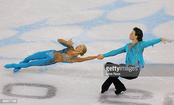 Tatiana Totmianina and Maxim Marinin of Russia compete in the Pairs Short Program Figure Skating during Day 1 of the Turin 2006 Winter Olympic Games...