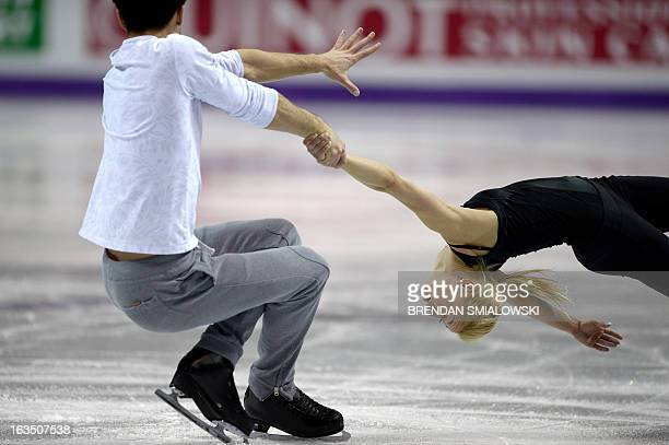 Tatiana Volosozhar and Maxim Trankov competing for Russia, practice at Budweiser Gardens in preparation for the 2013 World Figure Skating...