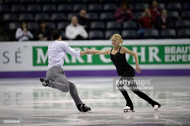 Tatiana Volosozhar and Maxim Trankov competing for Russia practice at Budweiser Gardens in preparation for the 2013 World Figure Skating...
