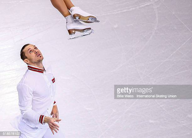 Tatiana Volosozhar and Maxim Trankov of Russia compete during Day 5 of the ISU World Figure Skating Championships 2016 at TD Garden on April 1, 2016...