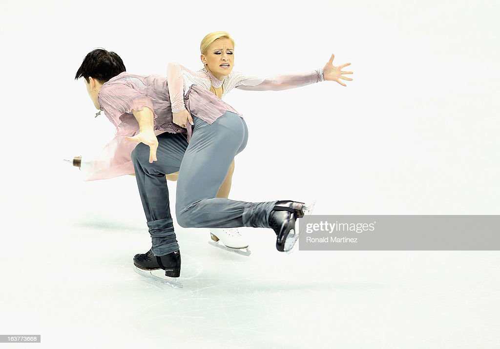 Tatiana Volosozhar and Maxim Trankov of Russia compete in the Pairs Free Skating during the 2013 ISU World Figure Skating Championships at Budweiser Gardens on March 15, 2013 in London, Canada.