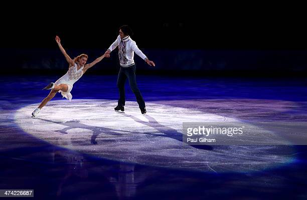 Tatiana Volosozhar and Maxim Trankov of Russia perform during the Figure Skating Exhibition Gala at Iceberg Skating Palace on February 22 2014 in...