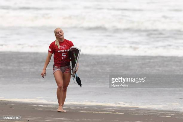 Tatiana Weston-Webb of Team Brazil reacts after losing her Women's Round 3 heat on day three of the Tokyo 2020 Olympic Games at Tsurigasaki Surfing...