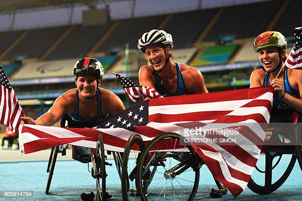US Tatiyana McFadden who won the 5000m celebrates with Chelsea MClammer and Amanda McGrory during the Rio 2016 Paralympic Games in Rio de Janeiro...