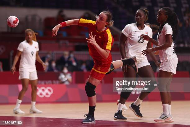 Tatjana Brnovic of Team Montenegro shoots at goal during the Women's Preliminary Round Group A match between Montenegro and Angola on day two of the...