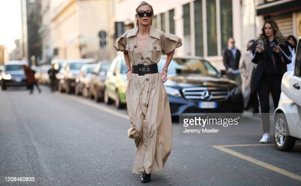 Tatjana Catic seen wearing a beige dress before Tods during Milan Fashion Week Fall/Winter 20202021 on February 21 2020 in Milan Italy