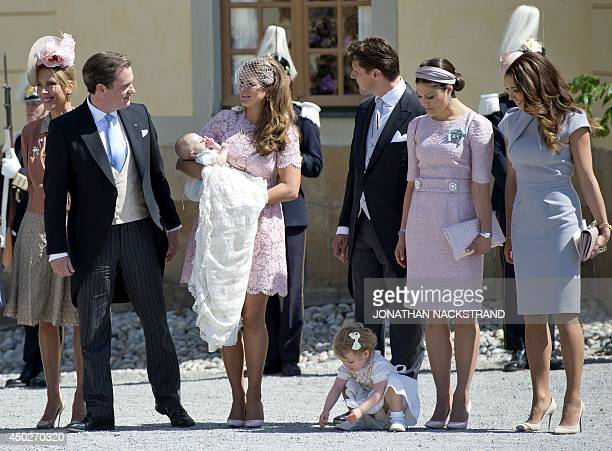 Tatjana d'Abo Princess Madeleine of Sweden holding her daughter Princess Leonore her husband Christopher O'Neill Sweden's Crown Princess Victoria and...