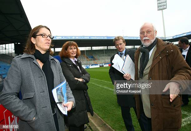 Tatjana Haenni head of women's football competition of FIFA Birgit Collisi deputy mayor of city Bochum Oliver Vogt competition manager of the FIFA...