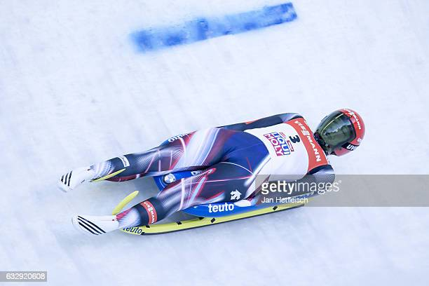 Tatjana Huefner of Germany competes in the first heat of the Women's Luge competition during the second day of the FILWorld Championships at...