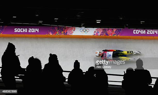 Tatjana Huefner of Germany makes a run during the Women's Luge Singles on Day 3 of the Sochi 2014 Winter Olympics at Sliding Center Sanki on February...