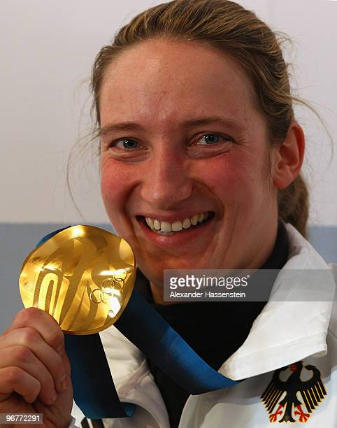 Tatjana Huefner of Germany poses with the gold medal for the Women's Luge Singles on day 5 of the Vancouver 2010 Winter Olympics Games at the German...