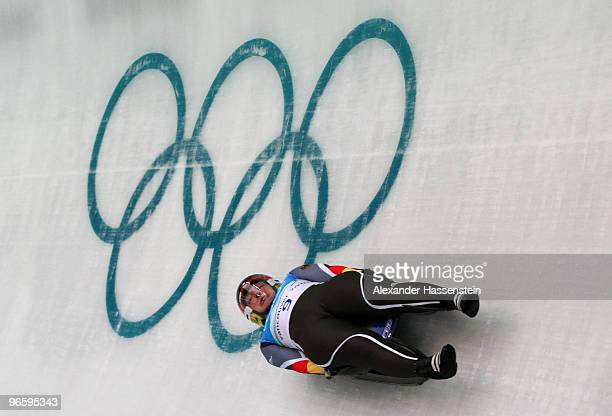 Tatjana Huefner of Germany practices during the Women's Singles Luge training run at the Whistler Sliding Centre ahead of the Vancouver 2010 Winter...