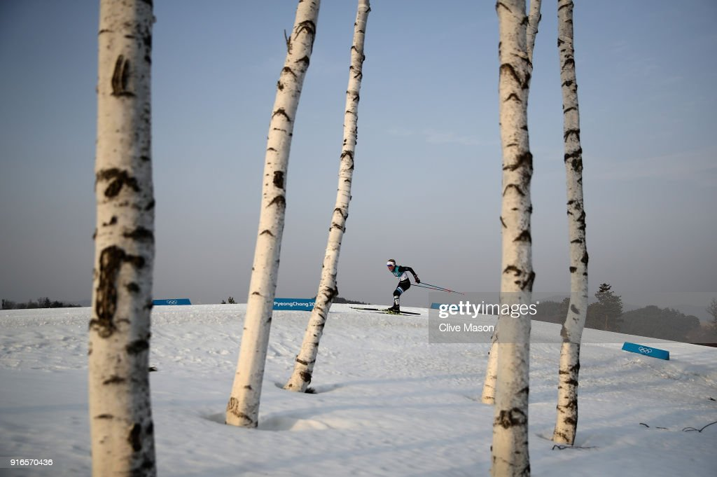 Tatjana Mannima of Estonia in action during the Ladies Cross Country Skiing 7.5km + 7.5km Skiathlon on day one of the PyeongChang 2018 Winter Olympic Games at Alpensia Cross-Country Centre on February 10, 2018 in Pyeongchang-gun, South Korea.