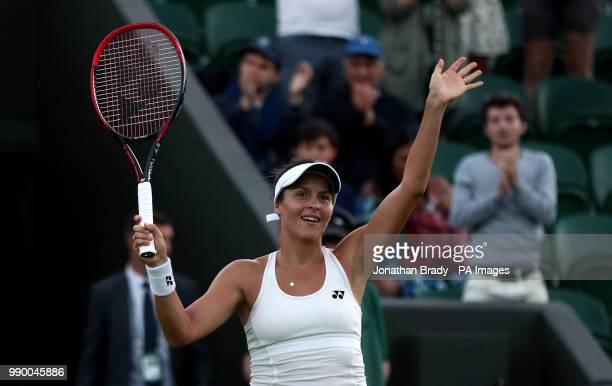 Tatjana Maria celebrates beating Elina Svitolina on day One of the Wimbledon Championships at the All England Lawn Tennis and Croquet Club Wimbledon