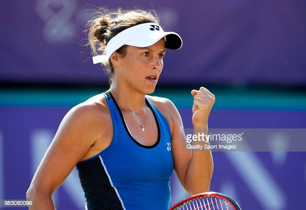 Tatjana Maria of Germany celebrates a point against Anastasija Sevastova of Latvia in the final during day seventh of the Mallorca Open at Country...