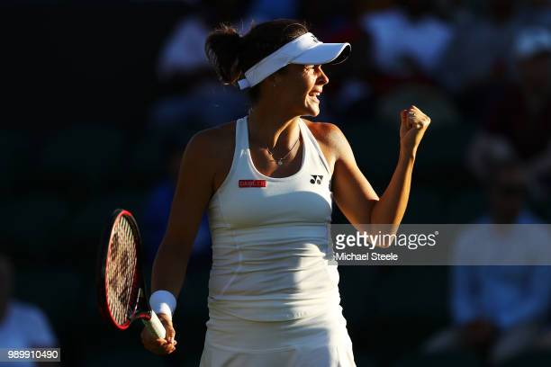 Tatjana Maria of Germany celebrates a point against Elina Svitolina of Ukraine during their Ladies' Singles first round match on day one of the...