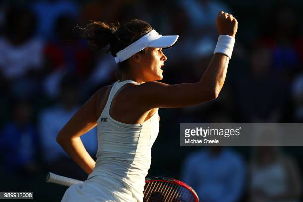 Tatjana Maria of Germany celebrates winning the first set against Elina Svitolina of Ukraine during their Ladies' Singles first round match on day...