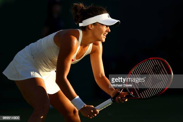 Tatjana Maria of Germany looks to return a shot against Elina Svitolina of Ukraine during their Ladies' Singles first round match on day one of the...
