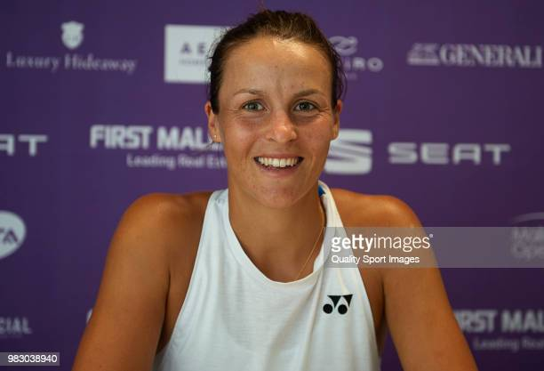 Tatjana Maria of Germany poses in the press conference following hes win in the women's final match against Anastasija Sevastova of Latvia during day...