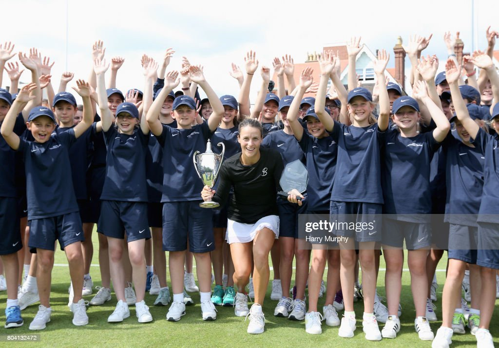 Tatjana Maria of Germany poses with the trophy after the Aegon Southsea Trophy final match between Irina-Cameliaon Begu of Romania and Tatjana Maria of Germany on June 30, 2017 in Portsmouth, England.