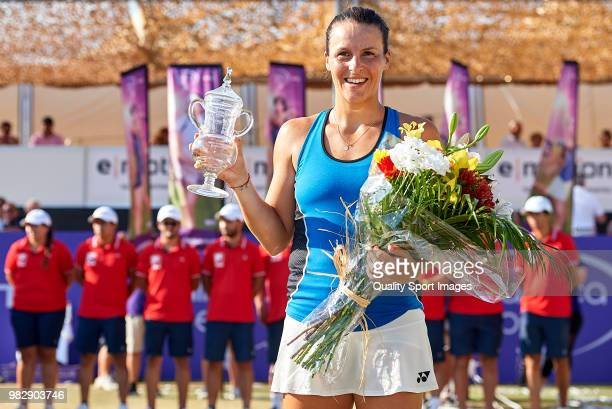 Tatjana Maria of Germany with the winners trophy after her win over Anastasija Sevastova of Latvia in the final during day seventh of the Mallorca...