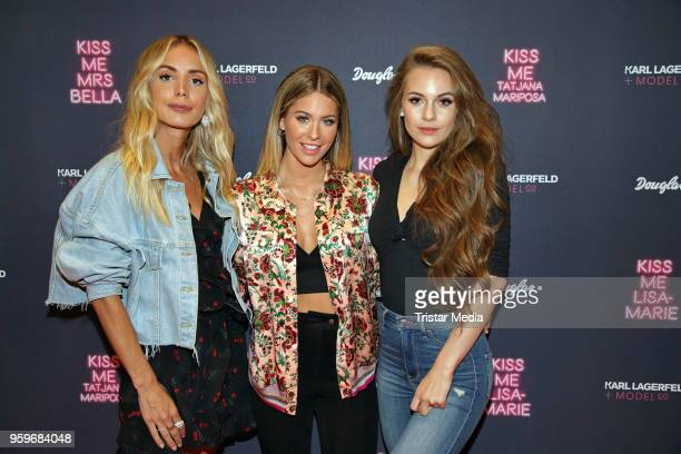 Tatjana Mariposa, Mrs Bella and Lisa-Marie Schiffner attend the 'Kiss Me Karl Limited Edition' Launch during a Douglas Store Event at Europa Passage...