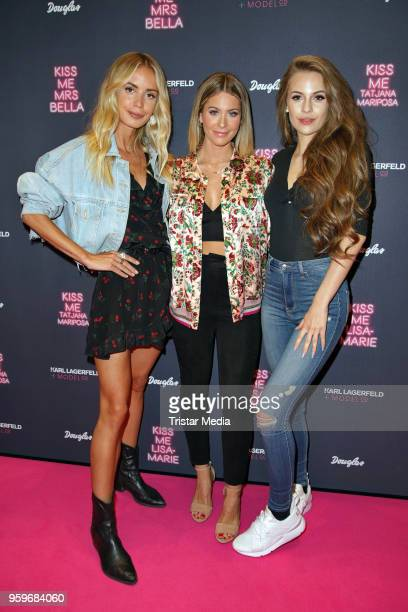 Tatjana Mariposa Mrs Bella and LisaMarie Schiffner attend the 'Kiss Me Karl Limited Edition' Launch during a Douglas Store Event at Europa Passage on...