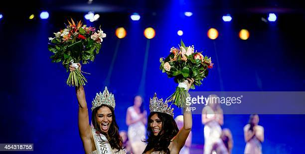 Tatjana Maul and Yasmin Verheijen celebrate after being elected respectively as Miss Netherlands World and Miss Netherlands Universe after the final...