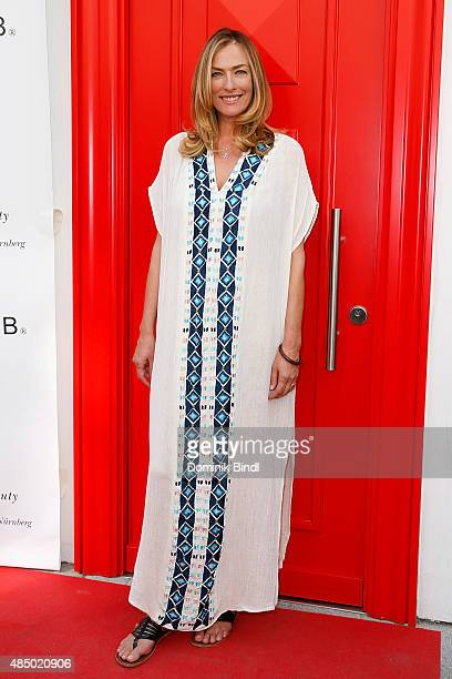 Tatjana Patitz during the 'Stargefluester' photo call at Hair Beauty Galerie on August 23 2015 in Munich Germany