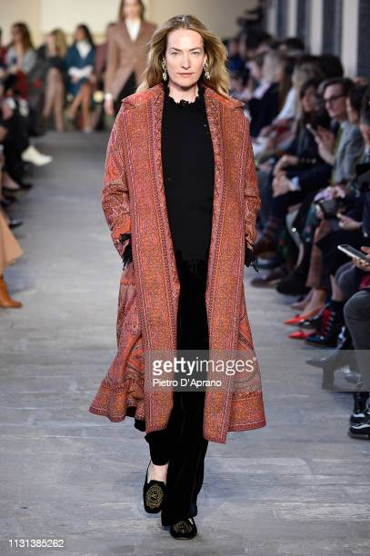 Tatjana Patitz walks the runway at the Etro show at Milan Fashion Week Autumn/Winter 2019/20 on February 22 2019 in Milan Italy
