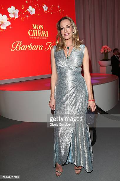Tatjana Patitz wearing a silver dress by Talbot Runhof during the Mon Cheri Barbara Tag 2015 at Postpalast on December 4 2015 in Munich Germany