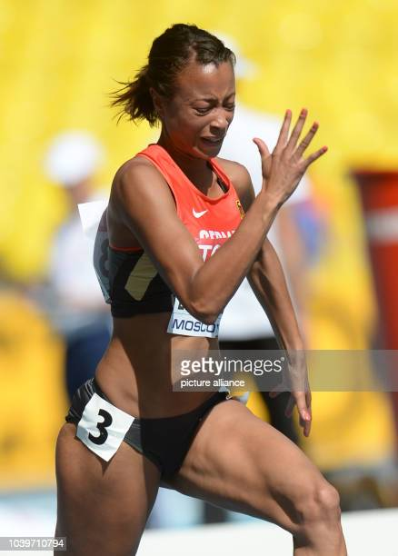 Tatjana Pinto of Germany competes in the Women's 100 m Round 1 run at the 14th IAAF World Championships in Athletics at Luzhniki Stadium in Moscow...