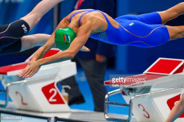 Tatjana Schoemaker of Team South Africa finishes second in the final of the womens 100m breast stroke during the Swimming event on Day 4 of the Tokyo...