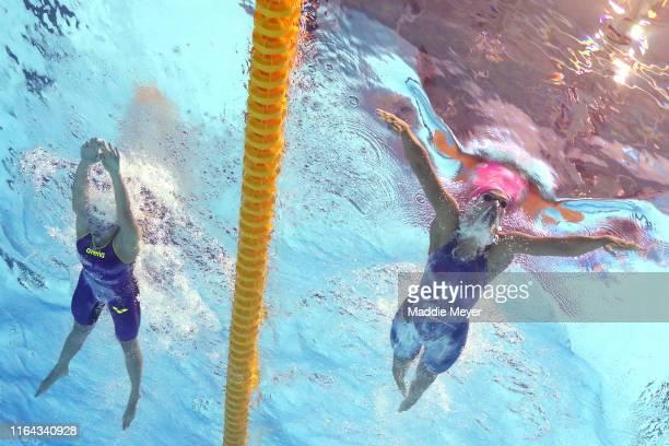 Tatjana Schoenmaker of South Africa and Yulia Efimova of Russia compete in the Women's 200m Breaststroke Final on day six of the Gwangju 2019 FINA...