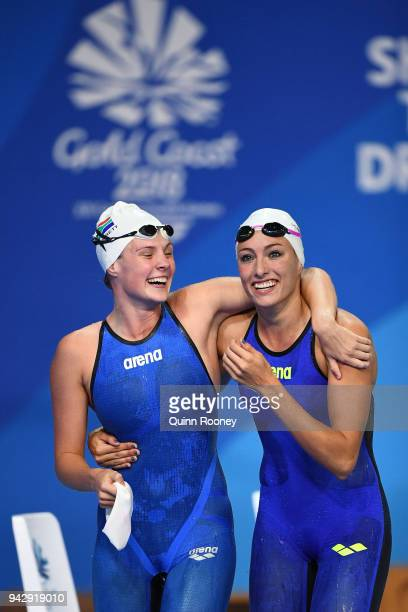 Tatjana Schoenmaker of South Africa celebrates victory with teammate Kaylene Corbett following the Women's 200m Breaststroke Final on day three of...
