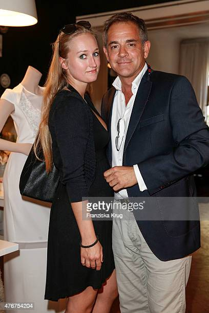 Tatjana Thinius and Florian Fitz attend the 'Lobby for a Weekend' Cocktail Prologne In Berlin on June 11 2015 in Berlin Germany
