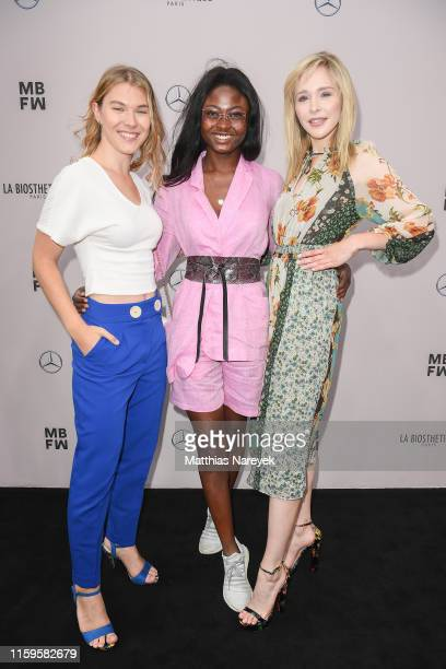 Tatjana Wiedemann Leticia WalaNtuba and Theresia Fischer attend the Irene Luft show during the Berlin Fashion Week Spring/Summer 2020 at ewerk on...