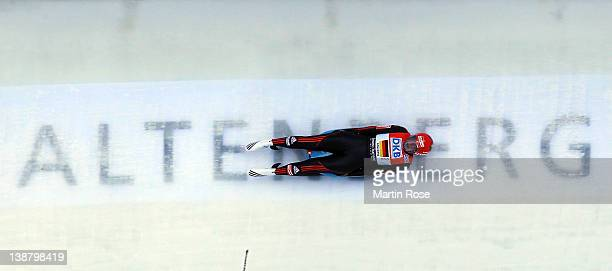 Tatjane Huefner of Germany competes during mixed team relay run in the Luge World Championship on February 12 2012 in Altenberg Germany