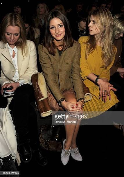Tatler editor Kate Reardon Olivia Palermo and actress Clemence Posey sit in the front row at the Mulberry Salon Show at London Fashion Week...