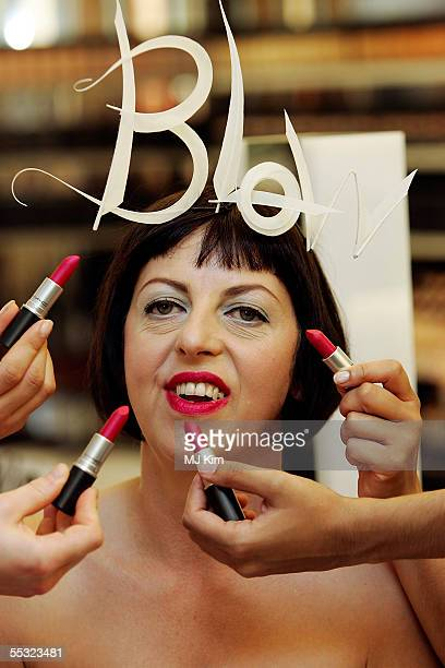 Tatler Fashion Director Isabella Blow poses for photographers to launch her limited edition MAC Cosmetics lipstick Blow at Harvey Nichols on...