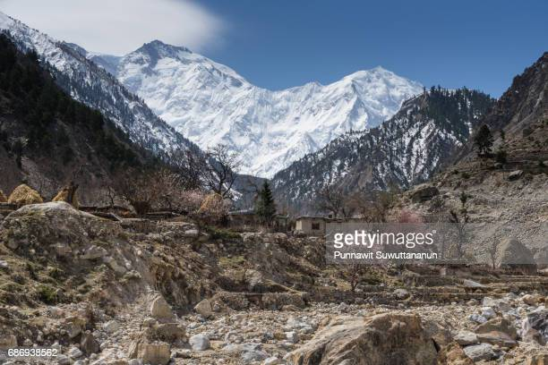 Tato village behind Nanga Parbat mountain massif, Chilas, Gilgit Baltistan, Pakistan