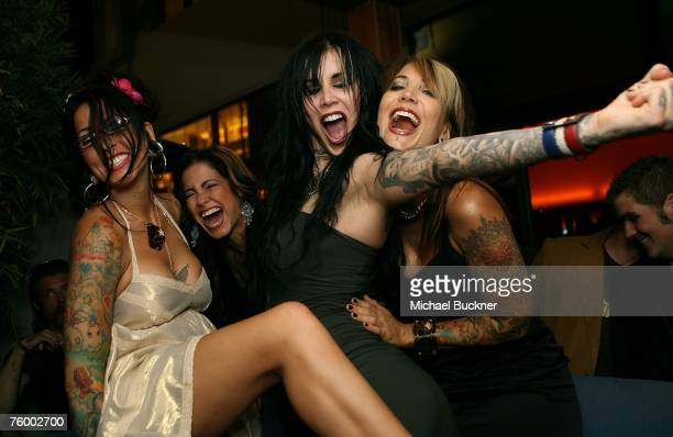 Tatoo artists Pixie Kim Siagh Kat Von D and Hannah Aitchison attend the premiere party of Discovery Channel's LA INK at the Stone Rose Lounge on...
