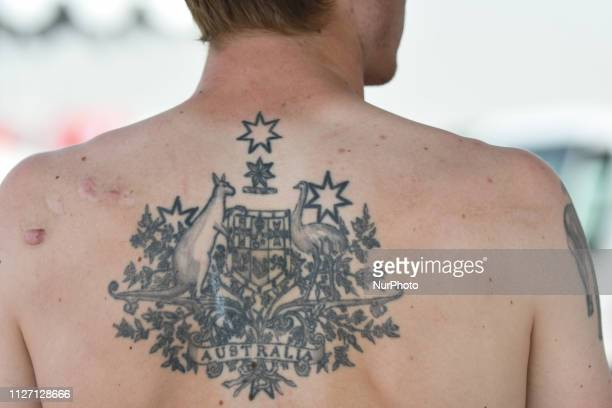 A tatoo seen on Rohan Dennis' back ahead the Team Time Trial the opening ADNOC stage of the inaugural UAE Tour 2019 On Sunday February 24 Abu Dhabi...